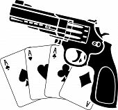 cards and pistol.