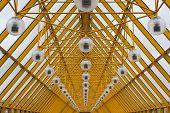 Yellow Roof Of Andrew's Bridge In Moscow