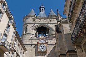 image of bordeaux  - Clock of the Grosse Cloche door at Bordeaux France - JPG
