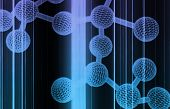 stock photo of molecules  - Molecule DNA Cell in Wireframe Mesh Art - JPG