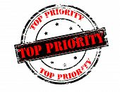 stock photo of priorities  - Rubber stamp with text top priority inside vector illustration - JPG