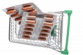 picture of blisters  - Shop cart with brown capsules blisters on an white background - JPG