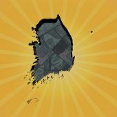 picture of won  - South Korea map on won sunburst illustration - JPG