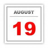 stock photo of august calendar  - August 19 - JPG