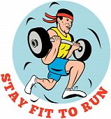 picture of muscle man  - cartoon illustration of a Man running jogging lifting weights with text  - JPG