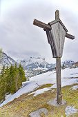 picture of chalet  - A wooden cross overlooking the Lech ski resort part of the Arlberg Lech - JPG