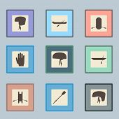 pic of raft  - Rafting sport items silhouette icon set - JPG