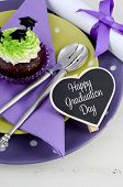 image of graduation  - Graduation Day green and purple theme party with cupcakes and graduation cap toppers - JPG