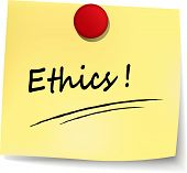 pic of ethics  - illustration of ethics yellow note concept sign - JPG