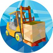 stock photo of lift truck  - Low polygon style illustration of a forklift truck and driver at work lifting handling box crate viewed from front set inside circle on isolated background - JPG