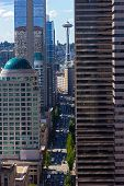 foto of view from space needle  - Seattle city skyscrapers with reflections on a sunny day - JPG