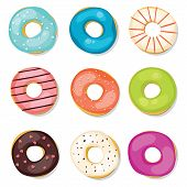 picture of donut  - Bright vector isolated sweet Donuts Set on white background - JPG