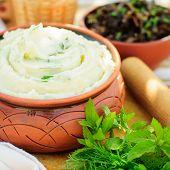 stock photo of mashed potatoes  - Herbed Mashed Potato  - JPG