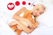 picture of sleeping beauty  - Beautiful young woman dreaming about love while sleeping - JPG
