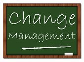 stock photo of change management  - Change management concept image with text written over classroom board - JPG