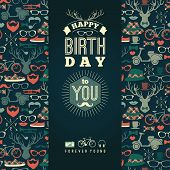 stock photo of congratulation  - Happy birthday congratulations vintage retro background with hipster seamless pattern - JPG