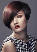 pic of fine art portrait  - Beautiful woman portrait with fashion haircut and creative trendy make - JPG