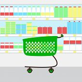 stock photo of yellow milk cap  - Green colored plastic shopping cart and supermarket refrigerator shelves behind it - JPG
