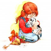 picture of congratulation  - Baby Girl And Puppy - JPG