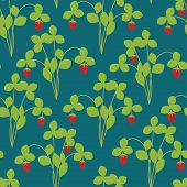 stock photo of strawberry plant  - Strawberry plant seamless pattern - JPG
