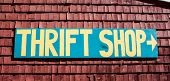 stock photo of thrift store  - Thrift shop sign in the United States of America - JPG