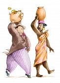 pic of pitcher  - a rich man imitating a woman carrying a pitcher of water on the head but he brings a piggy bank - JPG