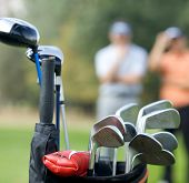 picture of golf bag  - Golf clubs in bag at golf course - JPG