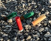 image of shotgun  - Several different colored shotgun shells resting in gravel - JPG