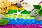 foto of bath sponge  - Color sea salt rainbow with shell bath towel stones coral sponge mat and green leaves - JPG