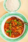 picture of curry chicken  - Thai red curry with chicken carrots peppers and onion - JPG