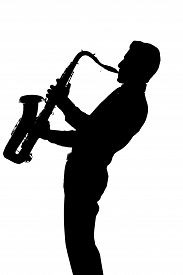foto of saxophone player  - Saxophone player silhouette isolated on white background - JPG
