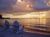 Adirondack Chairs At Blue Sunset