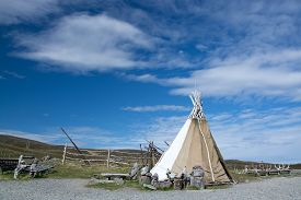 image of tipi  - Mageroya is a large island in Finnmark county in the extreme northern part of Norway - JPG