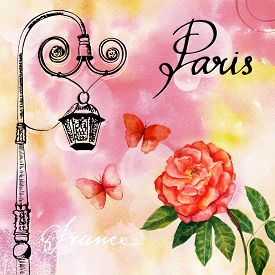 picture of lamp post  - Vintage style postcard with calligraphy - JPG