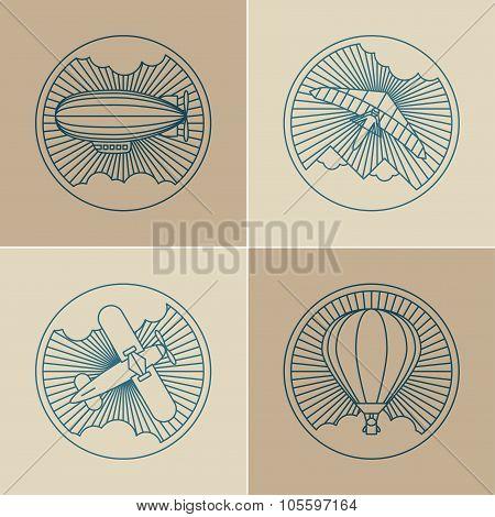 Set of round logo icons