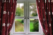 Window with curtains and a shallow depth of field