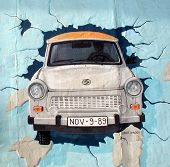Trabant On The Berlin Wall