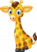 Постер, плакат: Cartoon baby giraffe sitting isolated on white background