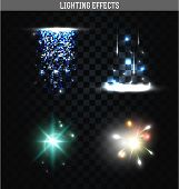 Set of lighting isolated effects. Magic, bright stars poster