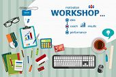 Постер, плакат: Workshop And Flat Design Illustration Concepts For Business