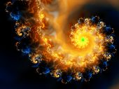 stock photo of quantum physics  - fractal rendering of cosmic fire spiral against the black backdrop of space - JPG