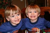 image of fraternal twins  - twin brothers celebrating their 3rd birthday together - JPG