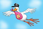 Flying Stork with Baby Girl