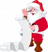 stock photo of santa claus hat  - Santa Claus reading a long list of gifts - JPG