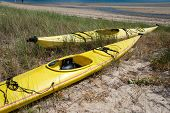 stock photo of cape-cod  - Yellow canoe on the wetland beach Cape Cod - JPG