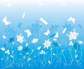 Fundo flor com borboleta