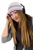 Young Pretty Girl In Headphones