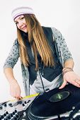 Female Dj Scratching The Record