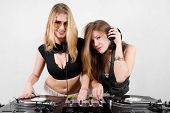 Female Djs Mixing Vinyl