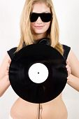Female Dj Holding Vinyl Record
